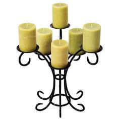 Sprig Black Cast Iron Candelabra Candle Holder