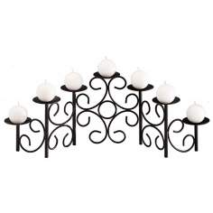 Expandable 7-Candle Black Cast Iron Candelabra
