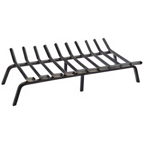 "Black Powder Coated 36"" Wide Non-Tapered Fireplace Grate"