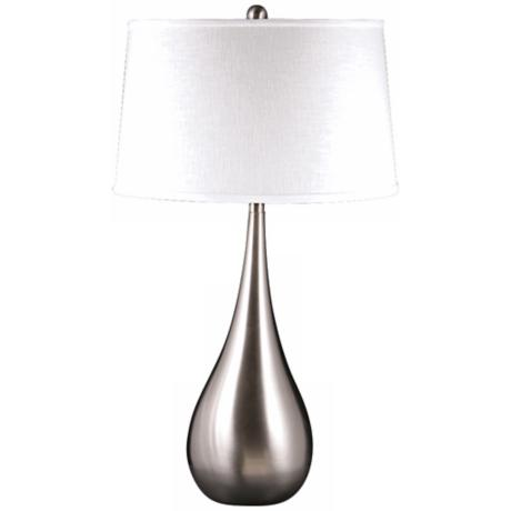 Dewdrop Satin Nickel Spun Metal Table Lamp