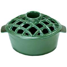 2 1/4 Quart Green Cast Iron Steamer Pot with Lattice Top