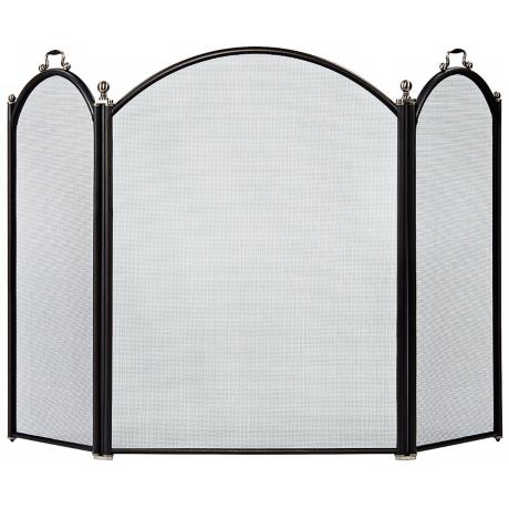 Three-Fold Graphite Arched Fireplace Screen With Handles