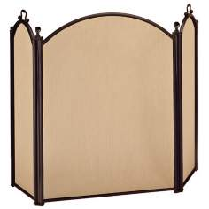 "Three-Fold 33"" High Arched Black Fireplace Screen"