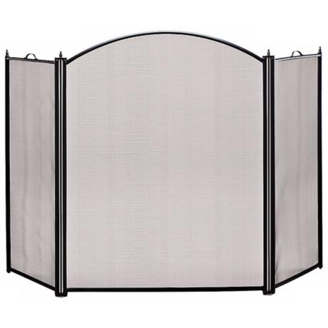 "Three-Fold 34"" High Black Fireplace Screen"