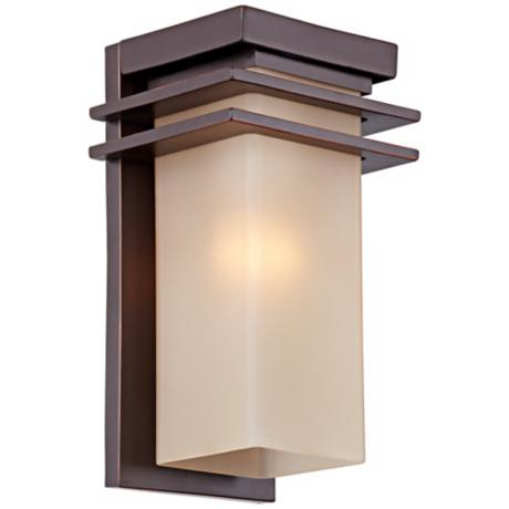 "Bronze and Opal 15"" High Rectangular Outdoor Wall Light"