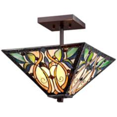 "Semi-Flush Bronze 14"" Wide Tiffany Style Ceiling Light"