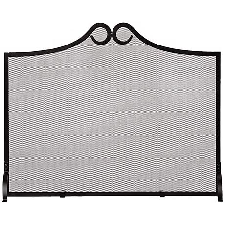 Flat Loop Design Black Fireplace Screen