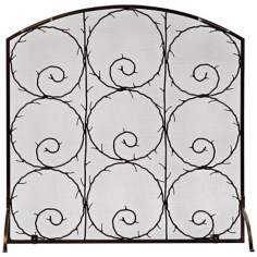 "Twigs Roman Bronze 36"" Square Flat Fireplace Screen"