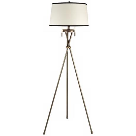 Eastman Mission Bronze with Cream Shade Tripod Floor Lamp