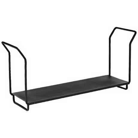 "Black 36"" Wide Wrought Iron Wood Holder"