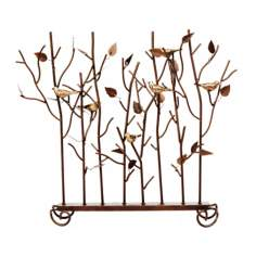 "Birds Summer 26"" Wide Wrought Iron Fireplace Screen"