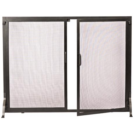 "Classic Graphite 30"" High Fireplace Screen with Doors"
