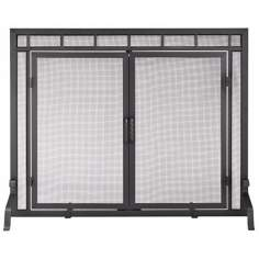 "Flat 44"" Wide Black Fireplace Screen With Center Doors"