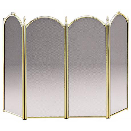 "Four-Fold 32"" High Plated Brass Fireplace Screen"