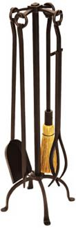English Country 4-Piece Wrought Iron Fireplace Tool Set (U9602)