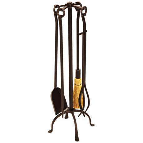 English Country 4-Piece Wrought Iron Fireplace Tool Set