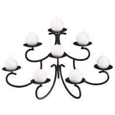 "8-Candle 20"" Wide Black Iron Candelabra"