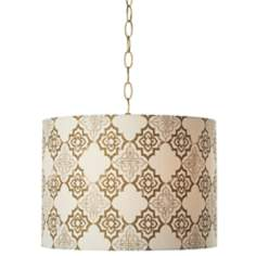 "Granada Polished Brass 14"" Wide Pendant Swag Light"