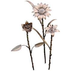 "Set of 3 Gold Finish Steel 18"" High Metal Garden Flowers"