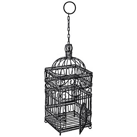 "Steel Gray Powder Coated 18"" High Victorian Bird Cage"