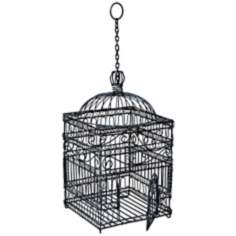 "Steel Gray Powder Coated 22 1/2"" High Victorian Bird Cage"