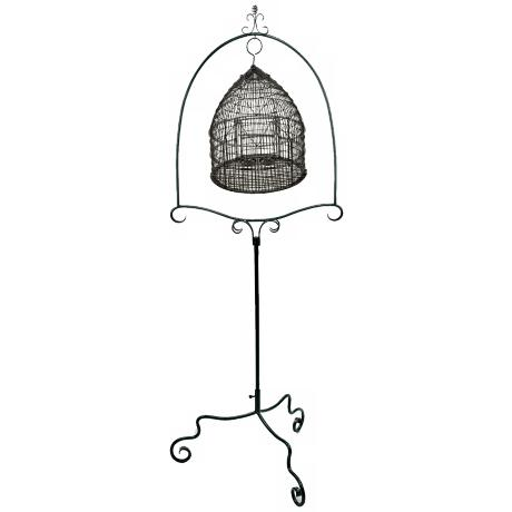 Powder Coated Graphite Metal Bird Cage Stand