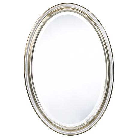 "Cooper Classics Silver Blake 31 1/2"" High Oval Wall Mirror"