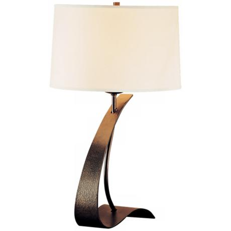 Hubbardton Forge Poised Arc Translucent Bronze Table Lamp
