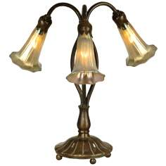 Gold Lily Luster Twist 3-Light Dale Tiffany Table Lamp