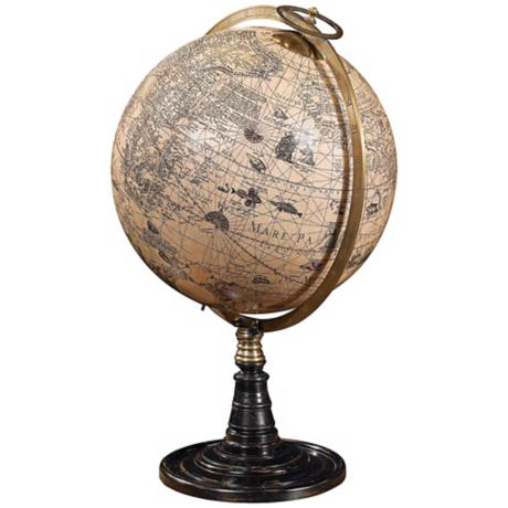 17th Century Hondius Old World Globe on Rosewood Stand