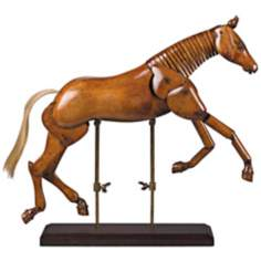 Large Wood Articulated Artist Horse Model