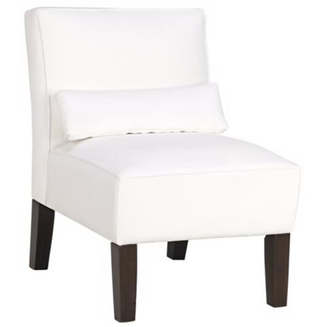White Velvet Armless Club Chair