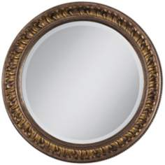 "Gold Floral Relief 25 3/4"" Wide Round Wall Mirror"