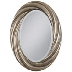 "Silver Swirl 30"" High Oval Wall Mirror"