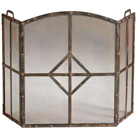 Lincoln Raw Steel Iron Fireplace Screen