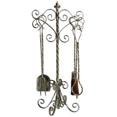 Coastal Antique White 4-Piece Fireplace Tool Set