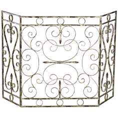 "Crawford Antique White 29 1/4"" Iron Fireplace Screen"