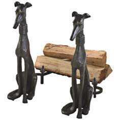 Set of Two Canyon Bronze Dog Cast Iron Fireplace Andirons