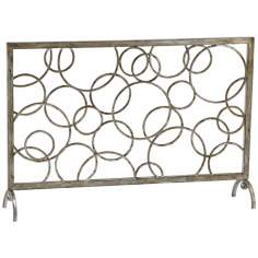 "Circle Design 40"" Wide Decorative Iron Fireplace Screen"