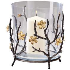 Large Botanica Raw Steel and Gold Candle Holder