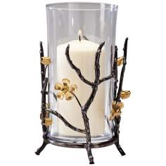 Small Botanica Raw Steel and Gold Candle Holder