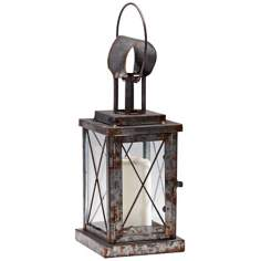 "Wales 14 1/2"" High Rustic Iron Candle Lantern"