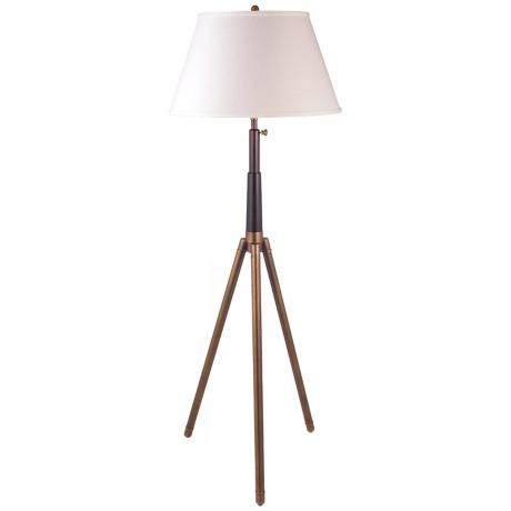 Bradstreet Antique Brass Adjustable Tripod Floor Lamp