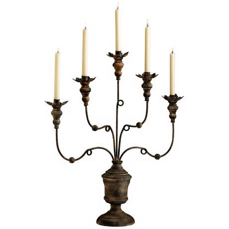Windsor Five Arm Rustic Iron Candelabra