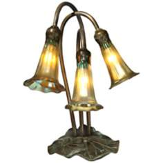 Gold Lily Luster Glass 3-Light Dale Tiffany Accent Lamp