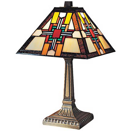 Morning Star Antique Bronze Dale Tiffany Accent Lamp