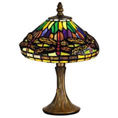 Dragonfly Antique Brass Dale Tiffany Accent Lamp