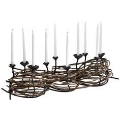 Nest Weave Iron and Wood Taper Candle Holder