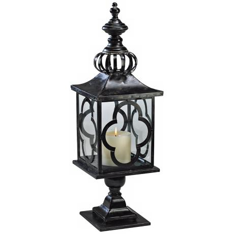"Regal 28"" High Iron and Glass Candle Lantern"