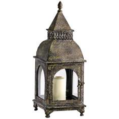Scott's Rustic Patina Pillar Candle Lantern